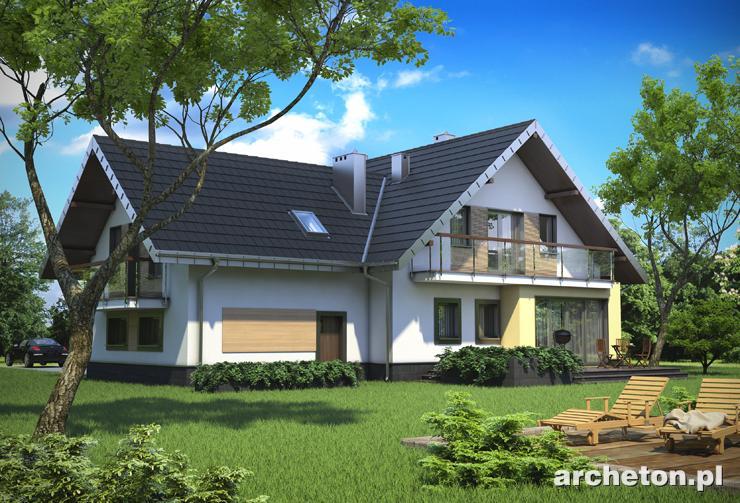 Projekt domu Karina - dom z wejściem od ściany szczytowej i garażem dwustanowiskowym