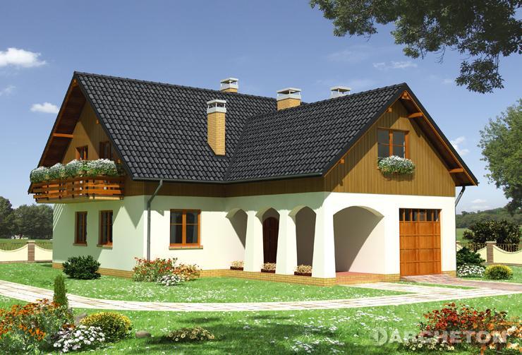 Projekt domu Karmazyn - duży dom z efektownym podcieniem arkadowym