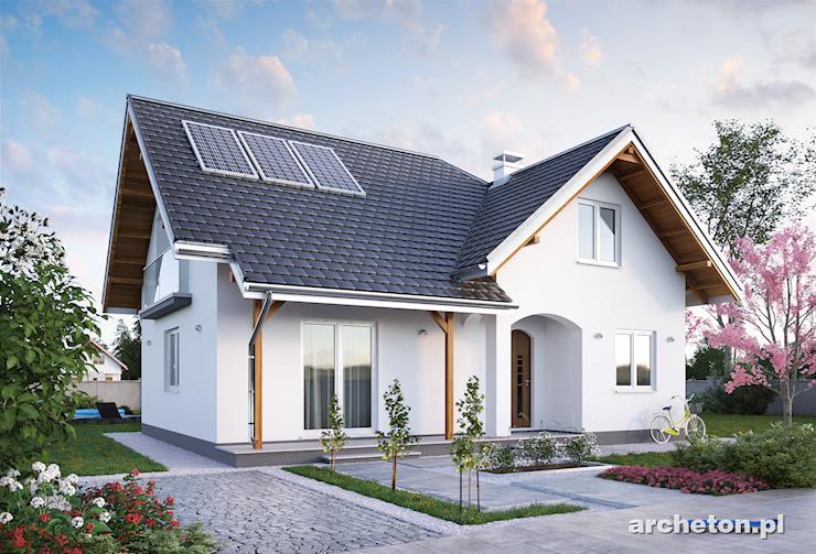 Projekt domu Karmel - uroczy domek z okiennicami i tarasem od strony frontu