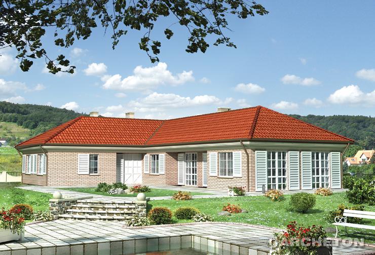 Projekt domu Kastalia - obszerny dom w kształcie litery L, z pięknymi okiennicami