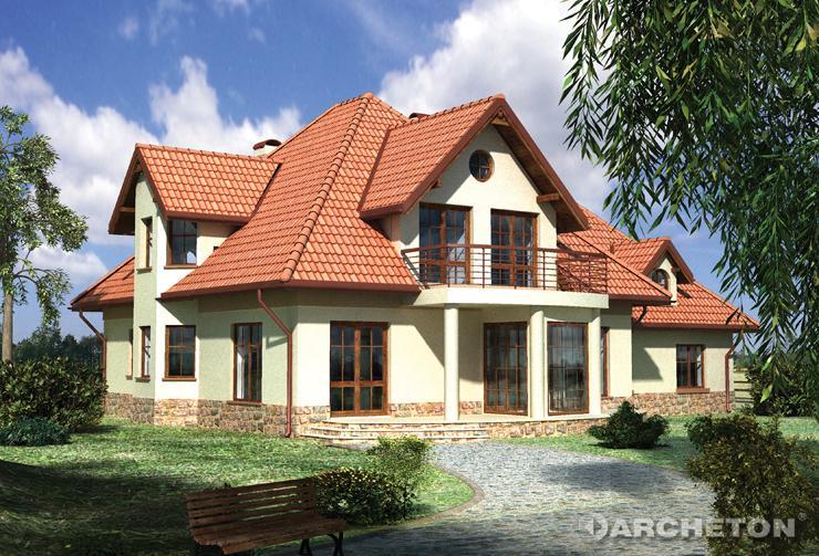 Projekt domu Kastor - duży dom z ogrodem zimowym i garażem na dwa samochody