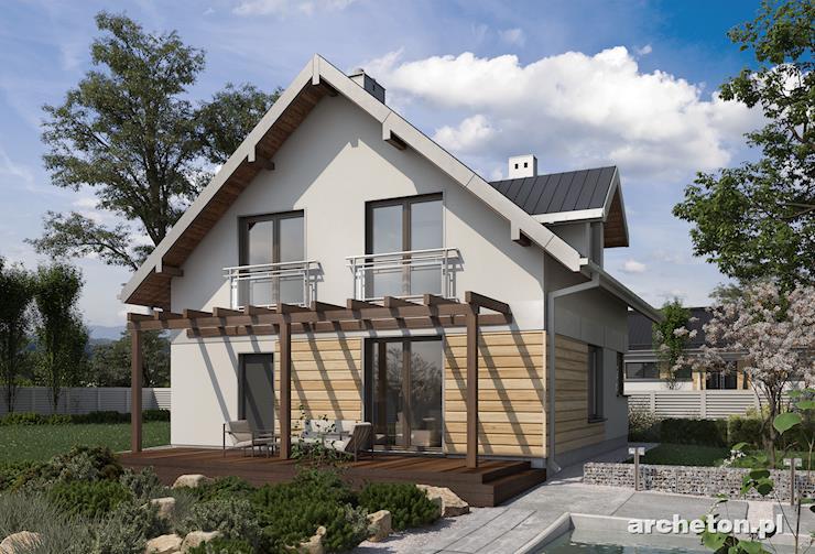 Projekt domu Katia - ładny i posty domek, z zadaszonym wejściem i tarasem od strony ogrodu