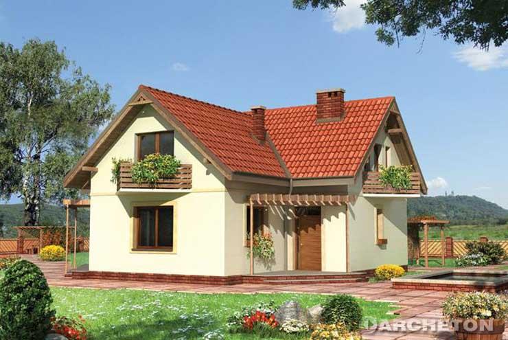 Projekt domu Kawka - dom urozmaicony trójkątnymi balkonami i pergolą