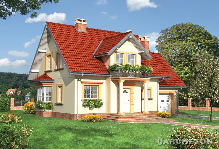 Projekt domu Kinga Lux - dom z elewacją z tynku cementowo- wapiennego