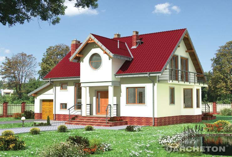 Projekt domu Klara-2 - dom na planie kwadratu z zadaszeniem nad wejściem głównym