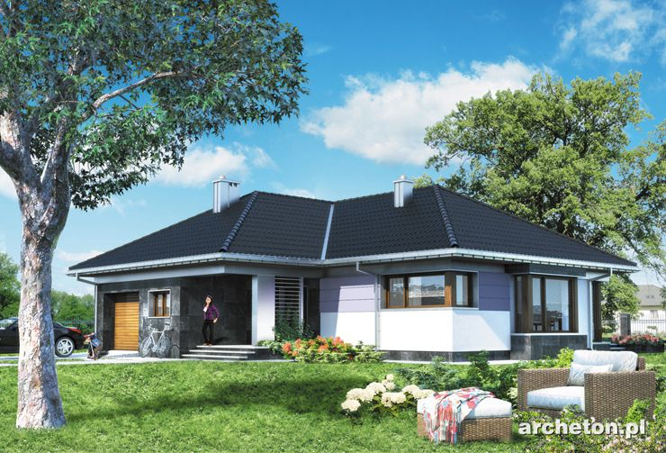 Projekt domu Klaudia - przytulny dom parterowy, na planie w kształcie litery T