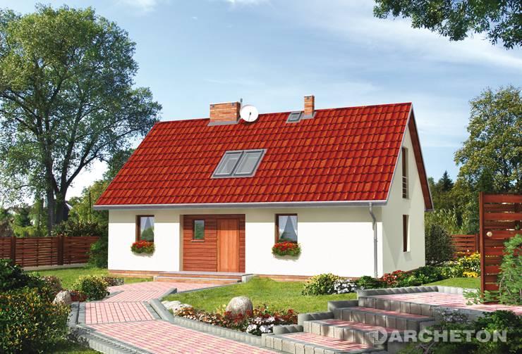 Projekt domu Kokosz - niewielki domek z dachem dwuspadowym o kącie nachylenia 42 stopni