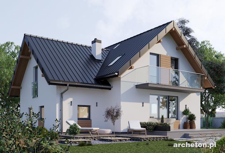 Projekt domu Koliba - niewielki dom z przenikającymi się dachami dwuspadowymi