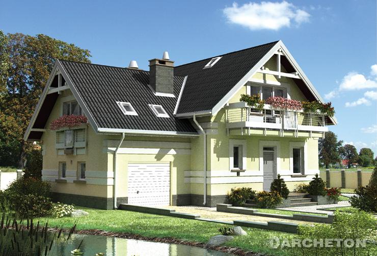 Projekt domu Koliba Plus - dom z balkonami pełniącymi rolę zadaszenia wejścia i wyjścia do ogrodu