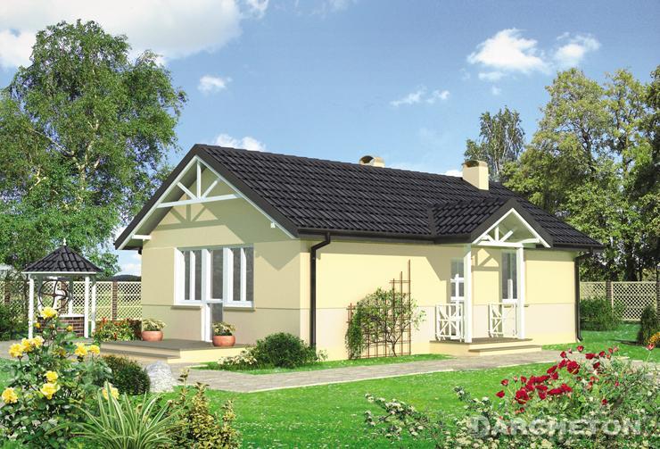 Projekt domu Koliber - mały domek parterowy z dwoma pokojami, kuchnią i łazienką