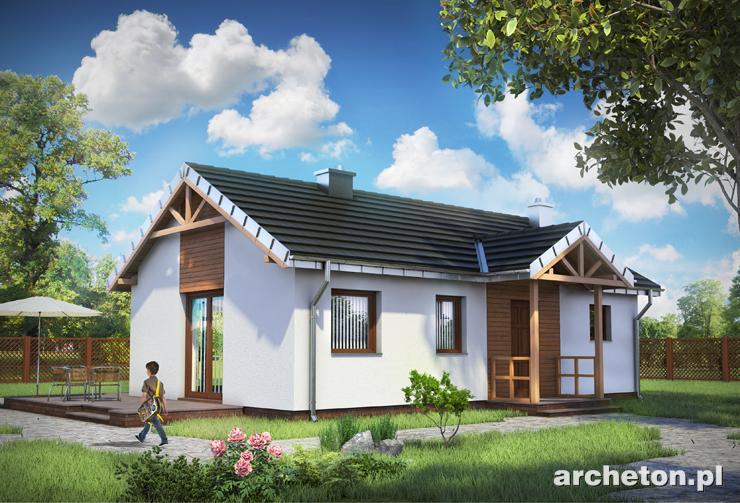 Projekt domu Koliber - malutki domek dla dwóch osób, z tarasem
