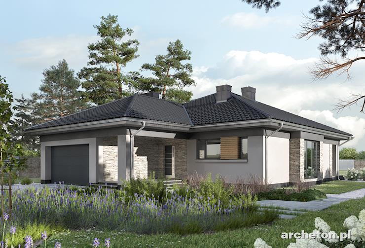 Projekt domu Koniczynka G2 - dom parterowy na rzucie w kształcie litery L, pokryty dachem wielospadowym