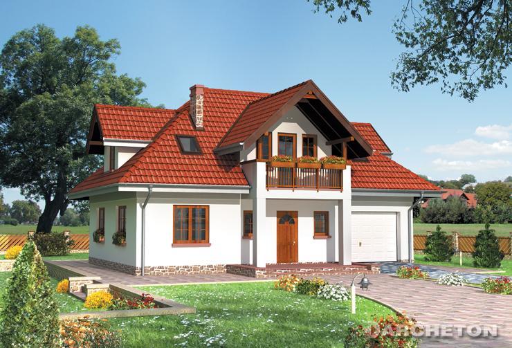 Projekt domu Konrad - dom z balkonem od frontu i z wejściem do kotłowni od strony ogrodu