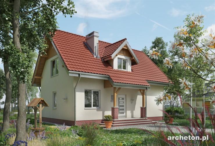 Projekt domu Kos - mały dom wzbogacony lukarną i zadaszeniem wejścia