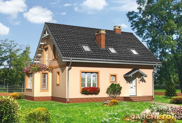 Projekt domu Kosma - dom z tarasem nad wysuniętą częścią pokoju dziennego