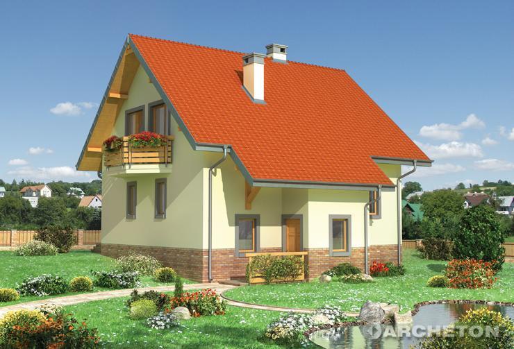 Projekt domu Kostek - dom z wysuniętą sienią i dużym tarsem