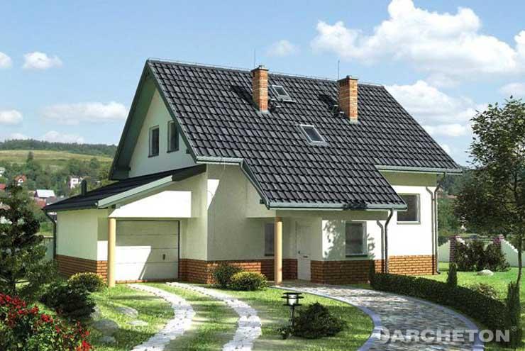 Projekt domu Kra - dom nakryty dachem dwuspadowym o kącie nachylenia 20 stopni