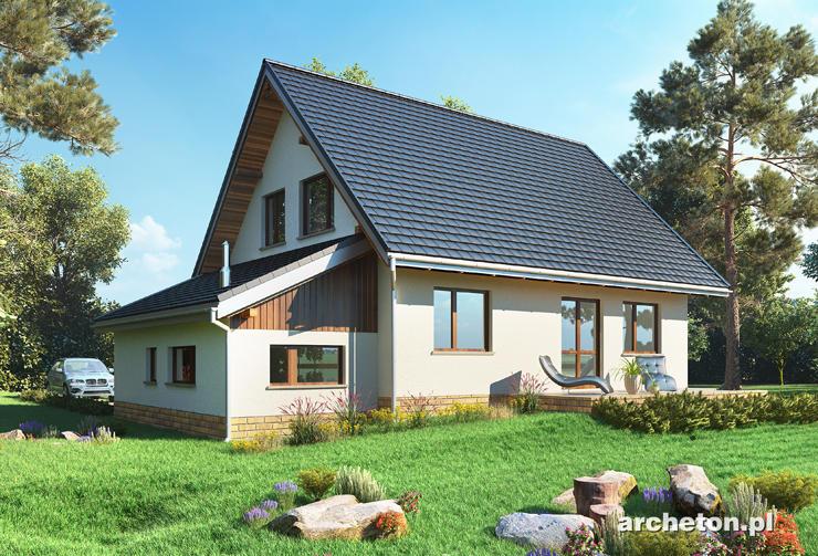 Projekt domu Krab-2 - nieduży dom z dostawionym garażem pokrytym dachem pulpitowym