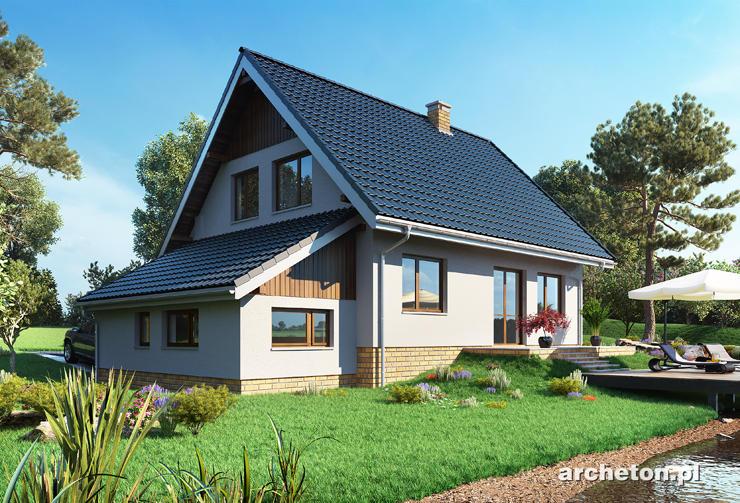 Projekt domu Krab-3 - nieduży dom z poddaszem i garażem dostawionym do ściany bocznej