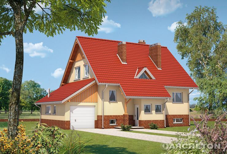 Projekt domu Krab-3 - dom z dostawionym garażem, częściowo podpiwniczony