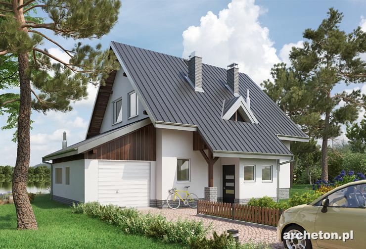 Projekt domu Krab - nieduży domek z wysuniętym wiatrołapem i podcieniem wejścia