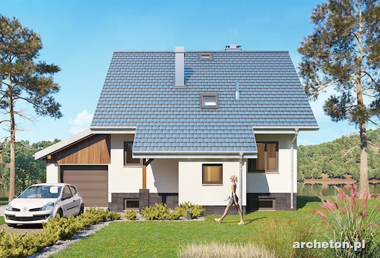 Projekt domu Krab z piwnicą - mały dom z dostawionym garażem, pokryty dachem dwuspadowym