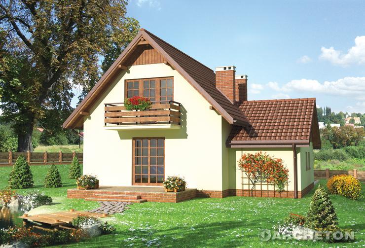 Projekt domu Kraska - elegancki domek z nietypową podcienią wejścia