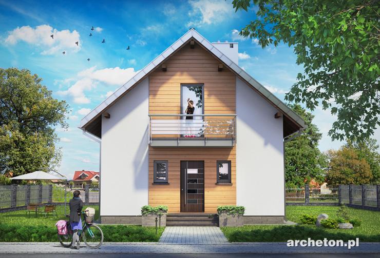 Projekt domu Krasnal - malutki domek z wejściem od ściany szczytowej, z 3 pokojami