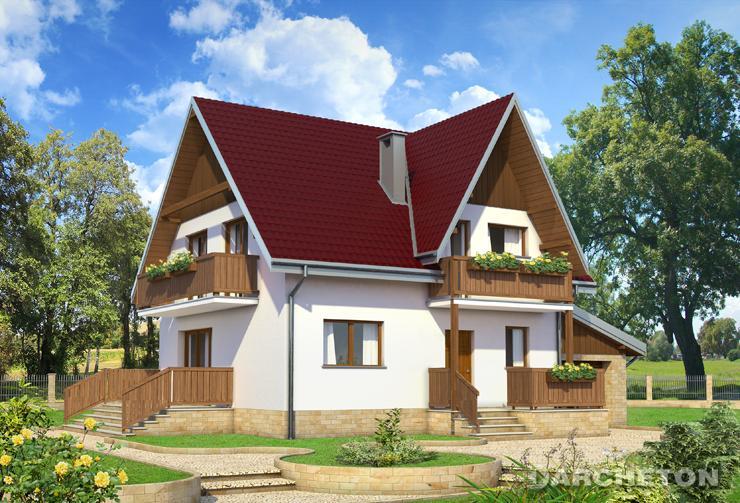 Projekt domu Krokus - dom pokryty dachem z dachówki lub blachodachówki, o kącie nachylenia 40 stopni