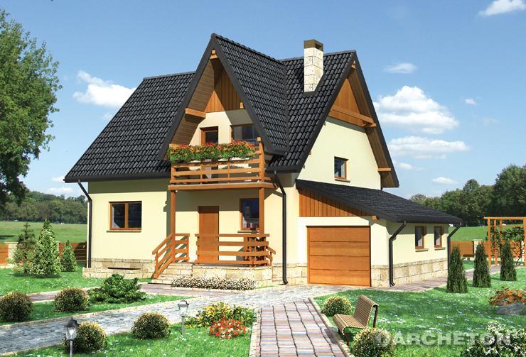 Projekt domu Krokus-2 - dom parterowy z poddaszem, całkowicie podpiwniczony
