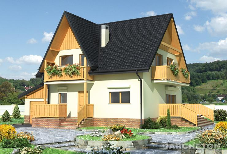 Projekt domu Krokus - dom z dużą ilością elementów drewnianych