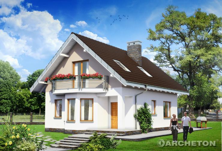Projekt domu Kropka - mały dom z balkonem nad wysuniętą częścią jadalni