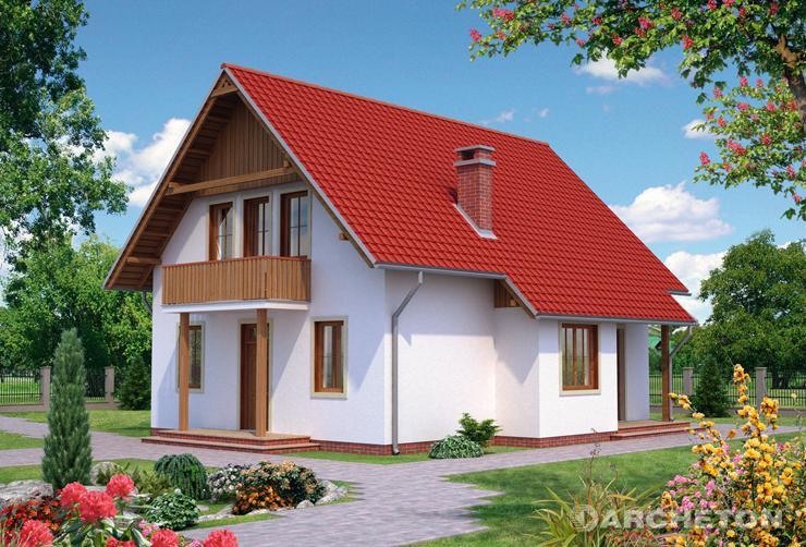 Projekt domu Kropla - nieduży dom z dachem z dachówki cementowej