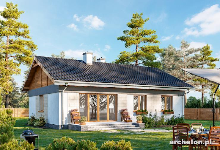 Projekt domu Kruszyna - mały przytulny domek z drewnianym gankiem