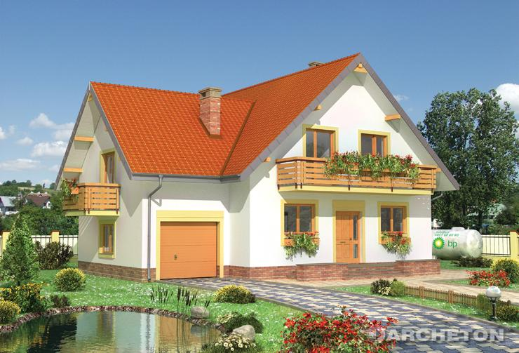 Projekt domu Kryspin - dom z trzema balkonami na poddaszu i sypialnią nad garażem