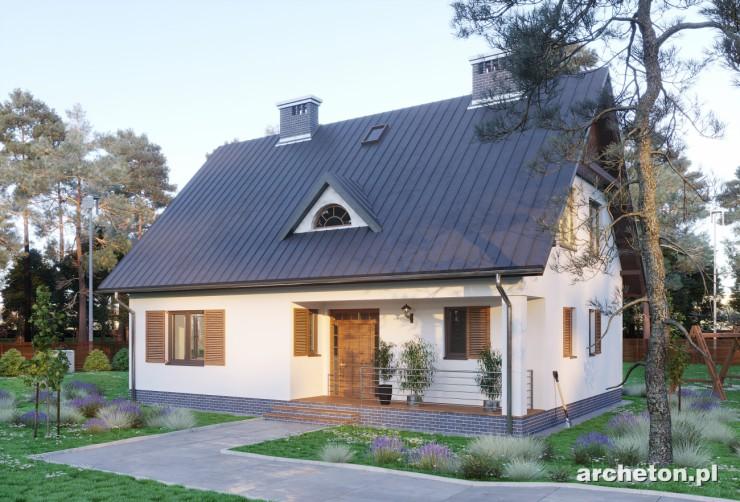 Projekt domu Krzemyk - średniej wielkości dom wzbogacony lukarną i drewnianym gankiem
