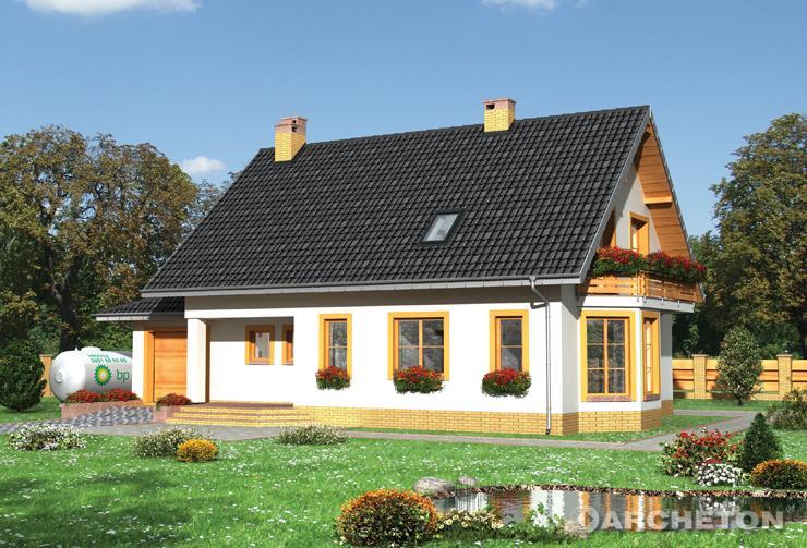 Projekt domu Krzemyk-2 - nieduży domek wzbogacony wykuszem, balkonem, lukarną i tarasami