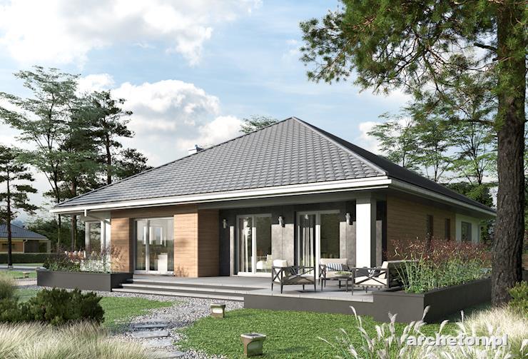 Projekt domu Ksenia - nieskomplikowany i funkcjonalny dom parterowy, z garażem dwustanowiskowym