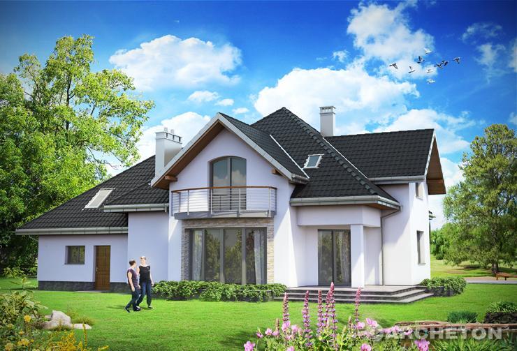 Projekt domu Ksymena - dom w stylu małej rezydencji, z pokojem hooby i sauną na poddaszu