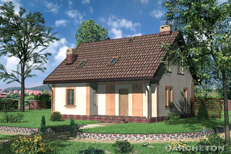 Projekt domu Kuferek - nieduży domek z dachem dwuspadowym o kącie nachylenia 39 stopni