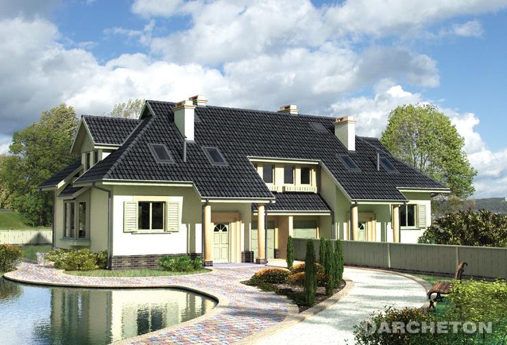 Projekt domu Kumak Duo - dom do zabudowy bliźniaczej urozmaicony lukarną, wykuszem oraz balkonem
