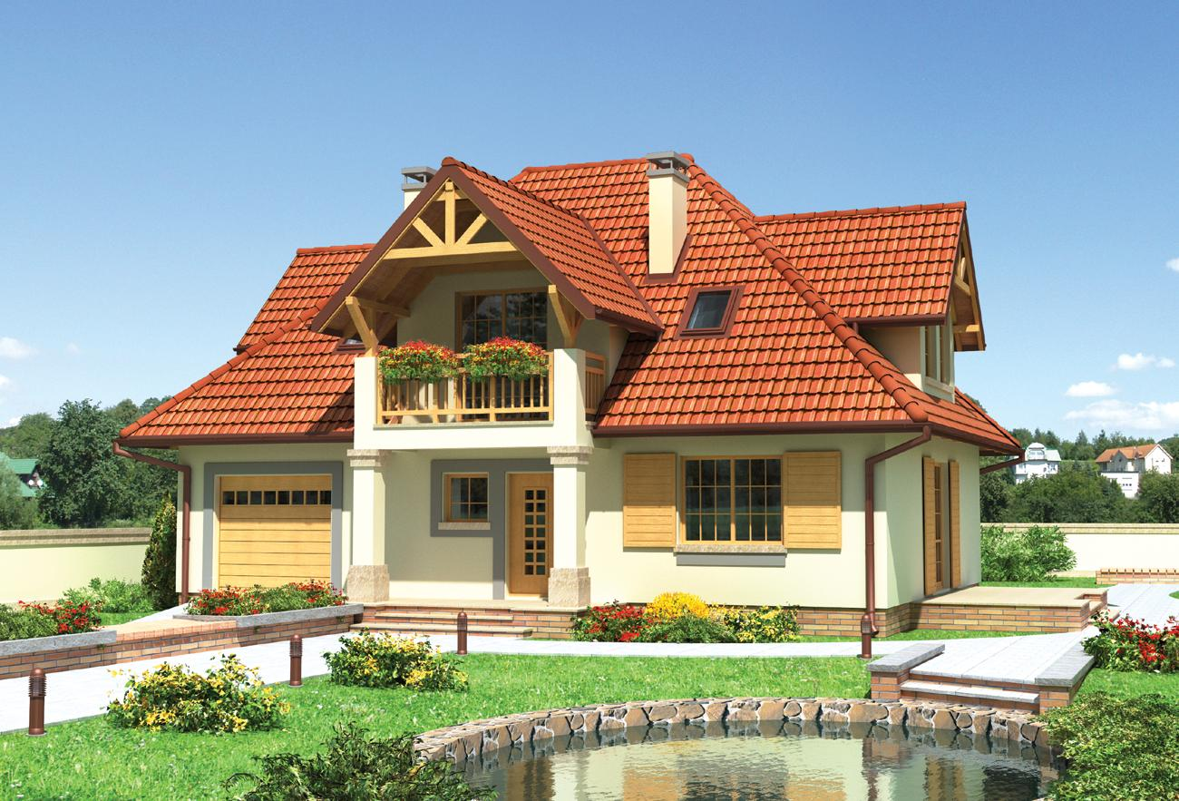 Стильный коттедж с красивыми балконами и небольшим крыльцом .