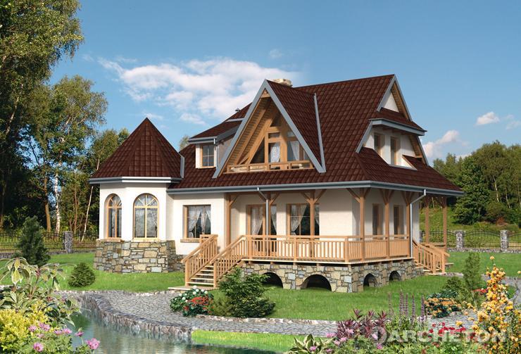 Projekt domu Kurza Stopka - malowniczy dom o zróżnicowanym dachu i z interesującym wnętrzem