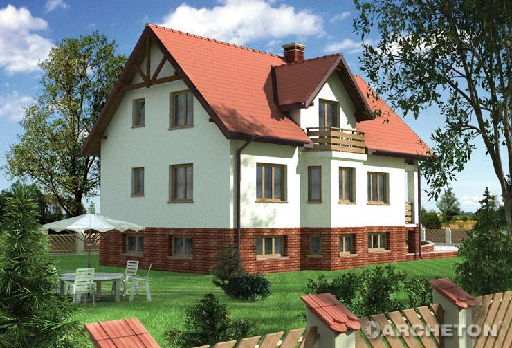 Projekt domu Kwarcyt - dom z balkonem na parterze i poddaszu