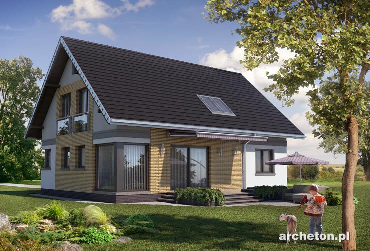 Projekt domu Lajkonik - funkcjonalny i ustawny dom z użytkowym poddaszem, bez garażu