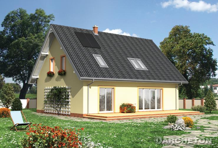 Projekt domu Lajkonik Eko - energooszczędny dom w kształcie prostokąta, z dużym tarasem