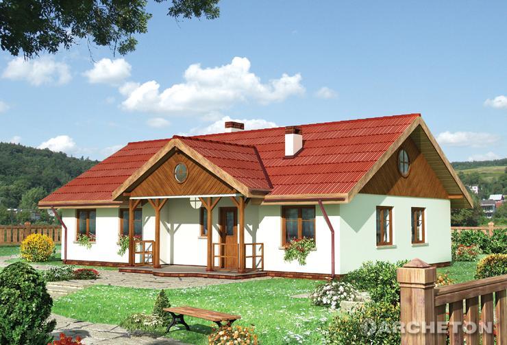 Projekt domu Lawenda - dom wzbogacony dwoma podcieniami, opartymi na drewnianych słupach