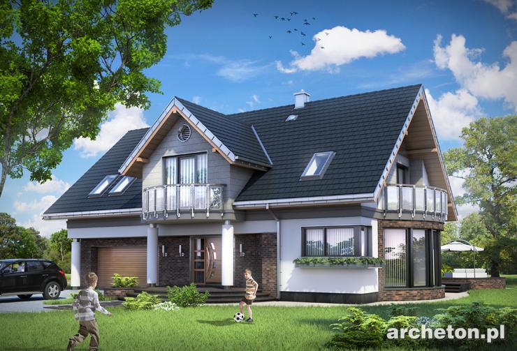Projekt domu Lazuryt - piękny dom jednorodzinny z atrakcyjną jadalnią i kolumnami od strony wejścia