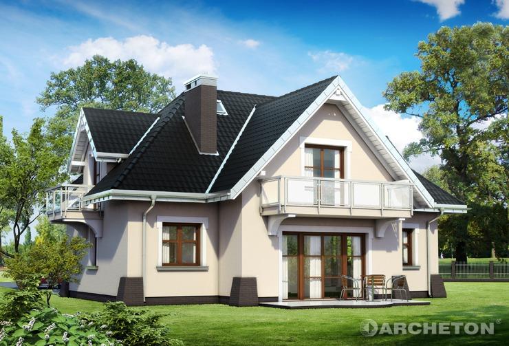 Projekt domu Leda Lux - dom w stylu dworkowym, z salonem z wejściem na taras od strony ogrodu