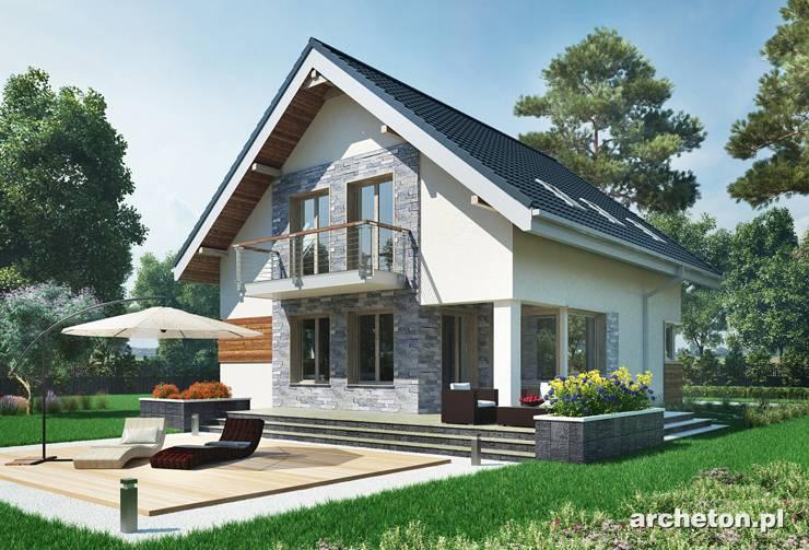 Projekt domu Leon - zgrabny domek z wejściem od ściany szczytowej, pokryty dachem dwuspadowym